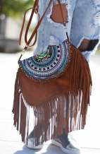 Rustic Brown Hmong Fringe Bag