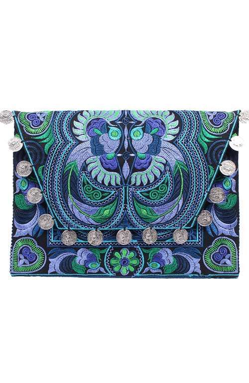 Embroidered Blue Large Clutch