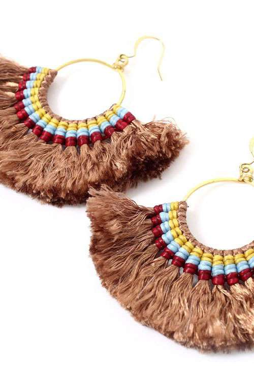 Hoop Tassel Earrings - Coffee