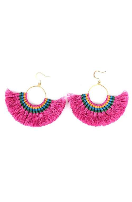 Hoop Tassel Earrings - Pink