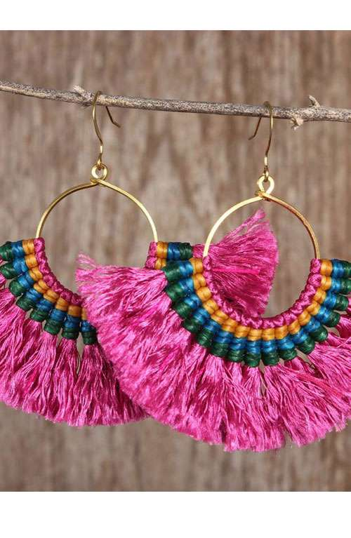 Hoop Tassel Earrings Pink Offbeat Boutique