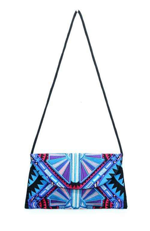 Arianna Clutch - Royal Blue Tribal