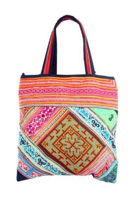 Boho Shoulder Bag - Vintage Cross Stitch